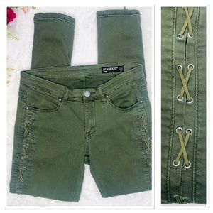 BLANK NYC Olive Green Lace Up Skinny Denim Jeans